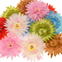 100pcs Big Daisy Flower Sunflower Fashion Chrysanthemum Flower Satin Flowers Boutique Flower Accessories 6 Colors(China)