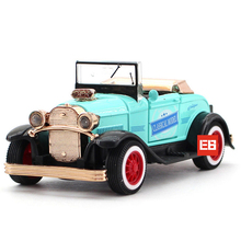 Hot 1:36 scale wheel Classic diecast Ford Vintage open-topped car Pickup metal model pull back toy with light & sound collection
