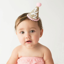 Bebe Headband Beautiful Children New Crown Birthday Party Cone Hairband Girls Sparkle Gold Headbands Kids Hair Accessories