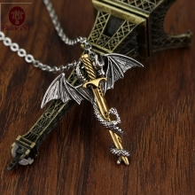Anime Dragon Pendant Chain Long Pendant Necklace 2 style Pterosaur Sword Jewelry Men Necklace Dragon Punk choker sword Necklace