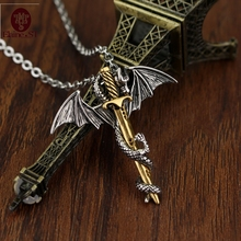 Anime Dragon Pendant Chain Long Pendant Necklace 2 style Pterosaur Sword Jewelry Men Necklace Dragon Punk choker sword Necklace(China)