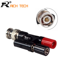 1pc BNC Male to 4MM Twin Dua Binding Posts Banana Plug Jack Female Coaxial Adapte Connector BNC Male Terminals black & red