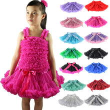 Girls Fluffy 1-18 Years Chiffon Pettiskirt Solid Colors tutu skirts girl Dance Skirt Christmas Tulle Petticoat Underskirt