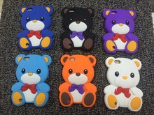 Universal Cartoon 3D colorful Soft Silicone teddy Bear Bowknot Animals Case For Apple iPod Touch 5 cover Stitch Minions