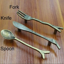 "3""  Table ware Kitchen Cabinet Pulls Antique Zinc Alloy  Spoon Fork Knife Type Drawer Wardrobe Handles Pulls knobs"