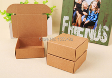 Candy chocolate package brown cardboard box 7*7*3cm headgear packaging brown kraft paper boxes