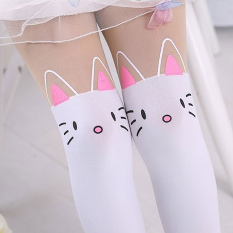 Summer Baby Kids Girls Thin Leggings Knee Cute Cartoon Patchwork Velvet Stocking white Cartoon Kitty Cat Leggings 3-9Y 20