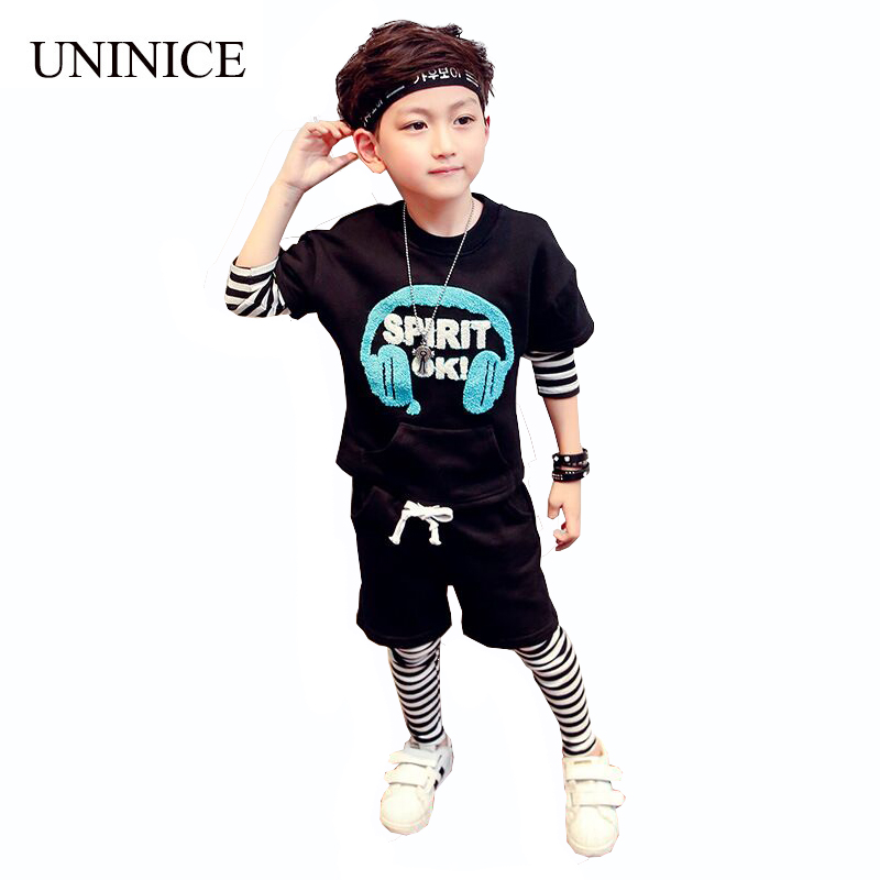 UNINICE Toddler Boys Clothing Sets 2017 Fashion Kids Clothing Sets Long Sleeve Striped T-shirt+Pants 2Pc For Children Clothing<br>