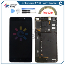 A7000 LCD Display+Touch panel 100% good Digitizer with frame Replacement For Lenovo A7000 Smart Phone