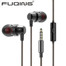 Hot Sale 3.5mm FUQING MX1 Metal Earphones Headphone Headsets with Microphone super Bass Stereo Earbuds for mobile phone MP3 MP4(China)