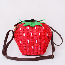 Fruit Bags Fashion Strawberry Hand-made Cane Women Shoulder Bags Beach Rattan Straw Girl Portable Handbag Vintage Casual(China)
