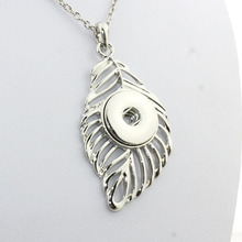 sterling Maxi necklace with free chain Leaf snap button pendant watchs women button snap necklace Vintage accessories 030305