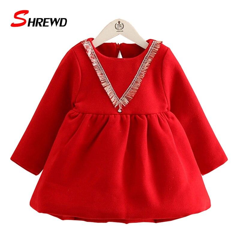 Dress Girl Baby New Winter 2017 Casual Tassel Solid Dress For Girl Kids Plus Velvet Thick Long Sleeve Children Clothing 4446Z<br><br>Aliexpress
