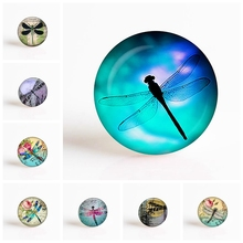 25mm Round Glass Cabochon Dragonfly  DIY Photo Cameo Cabochon Setting Supplies for Jewelry Accessories