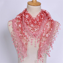 New Brand design Summer Lady Lace Scarf Tassel Sheer Metallic Women Triangle Bandage Floral scarves Shawl(China)