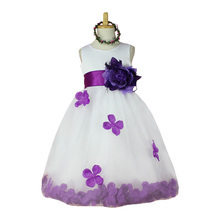 Purple Girl Rose Petals Wedding Dress Flower Girls Dresses Princess  Tulle Party Easter Bridesmaid Tutu Dress Ball Gown Vestidos