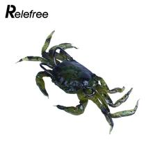 Relefree 3D Simulation Soft PVC Fishing Fish Lures Crab Multi Color Baits Two Hooks(China)
