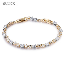 GULICX Fashion S Shape Round Cut Natural Fire Rainbow Mystic Created Crystal Stone Bracelets Bangles For Women(China)