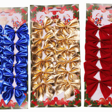 12PCs/ Pack Christmas Tree Decorations Baubles Tree Bows Ornament Kerst New Year Natal Navidad Christmas Bows For Home(China)