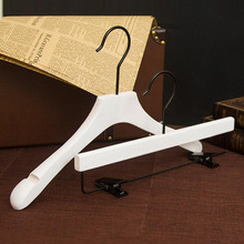 5 Pcs/Lot, Deluxe Pearl White Color Wooden Suits Clothes Pants Hanger with Black Hook, New Design Wire Drawing Process