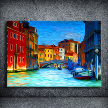 Wall Oil Painting Prints on Canvas Famous Euro Landscape Pictures ITALY City Home Decor Unframed Cuadros Decoracion SSBY106(China)