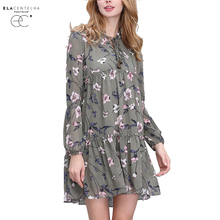 ElaCentelha Women Summer Autumn Dress Tops Print Floral Woman Dress Ethnic Plus Size Loose Bandage Boho Vintage Causal Dresses(China)