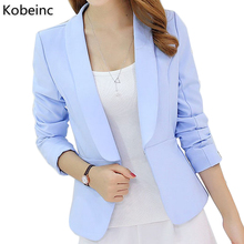 Kobeinc Fashion Blazer For Women Spring Summer 2017 New Simple Solid Color Long Sleeves Casual Slim-Fit Business Suit Jacket