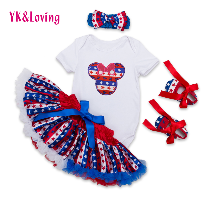 2016 Baby Girls Skirt Set White Romper+American Ruffles Tutu Skirts+Shoes Outfit 4 Pcs Sets with Hairband Kids Clothing F5025<br><br>Aliexpress