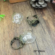 50sets/lot 20*15mm clear glass globe & ring flower finding set glass global set glass vial pendant glass cover jewelry findings