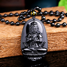 High Quality Unique Natural Black Obsidian Carved Buddha Lucky Amulet Pendant Necklace For Women Men pendants Jewelry(China)