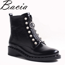 Bacia Women's Boots Genuine Leather Ankle Boots Round toe StringBead Woman Casual Shoes r Autumn Winter Short Plush Boots VXA031(China)