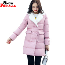 SNOW PINNACLE Winter Jacket Women 2017 Casual Long Double Breasted Turn down collar Warm Cotton Padded Parkas Jacket M-XXL(China)