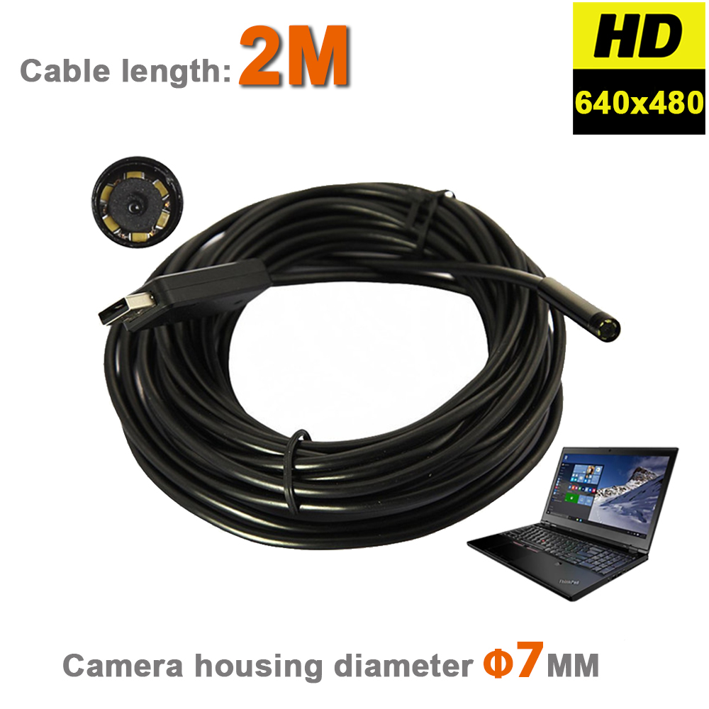6 LEDs 7mm IP67 Waterproof Inspection Borescope Snake Tube USB Camera USB Endoscope MINI Video Camera With 2M Flexible Cable<br><br>Aliexpress