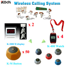 KOQI Electronic 2 pcs panel receivers + 4 pcs waiter watches + 50 call buttons restaurant Waterproof waiter buzzer call system