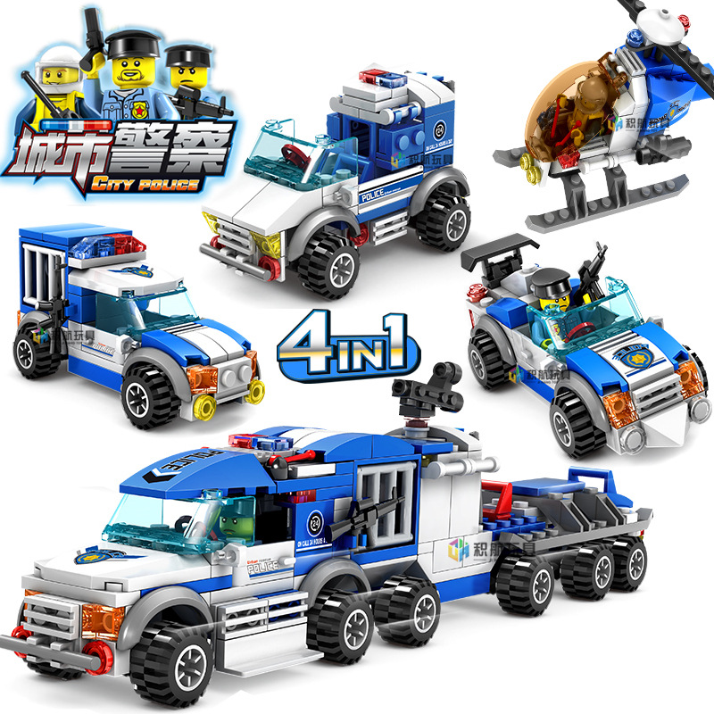 KAZI-City-Police-Series-4-IN-1-Toy-Building-Blocks-Action-Figure-Bricks-Helicopter-l-Car