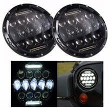 "2PCS 7 Inch Round LED Headlight 75W Multi-Beam Low/High w/DRL Black Housing 7"" Headlamp for Jeep Wrangler(China)"