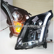 For Cadillac SRX LED Strip Head Light with Bi Xenon Projector Lens 2010-2013 year LD