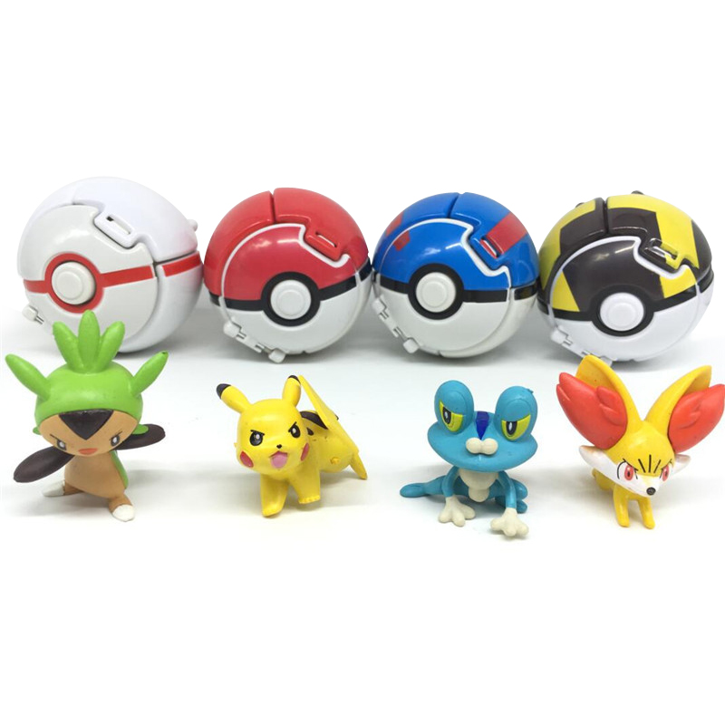 1 set Various wizards Pocket Monsters Blast ball Deformation ball Action Figure Model kids toys(China (Mainland))