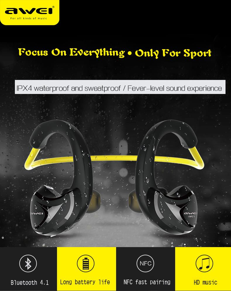 Awei A880BL Bluetooth Earphones For Phone Wireless Headphones with Microphone NFC APT-X Sport Auriculares 8 Hours Music Time