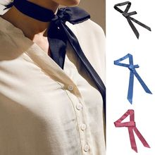 1Pc Fashion Women New Nice 100% Silk Tie Scarf Long Skinny Stain Solid Tie Scarf Vintage Chiffon Top(China)