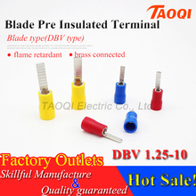 1000pcs/pack DBV1.25-10 Insulated Blade Terminal Cable Wire Connectors Electrical Crimp Terminals Ends Cold pressed terminal