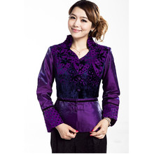 Hot New Purple Women's 100% Velvet Coat Chinese Style Hanfu Top Long-Sleeve Tang Suit Slim Jacket Size S M L XL XXL XXXL T021