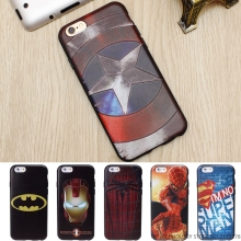 Marvel Super Hero 3D Emboss Soft TPU Luxury Silicone Phone Cases For iPhone 5 5S SE 6 6S 7 Plus Back Cover Case Batman Iron Man(China)