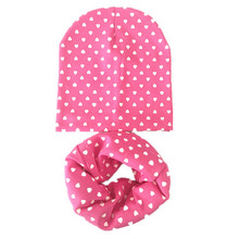 NEW solid color cotton heart spring autumn cotton baby scarf hat sets children beanies scarves boys girls kids accessories caps(China)