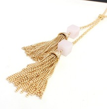 Gold Double Pink Crystal Quartz Cube and Long Chain Tassel Pendant Knot Y Necklace Women Jewelry Wholesale N3230