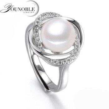 Реальная пресноводная перла кольца женщины, культивированный жемчуг кольца 925 серебряные ювелирные изделия регулируемая кольцо с жемчугом мама подарок на день рождения белый