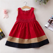 Spring And Autumn winter Girl New Pattern kids Princess dress Corduroy material girls winter dress(China)
