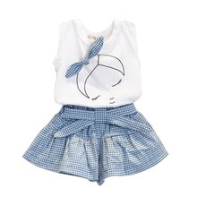 Kid Girl Clothes Set Bowknot T-shirt Tops + Plaids&Check Dress Skirt Pants Outfits X16