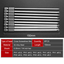 9pcs 150mm Long Magnetic Hex Screwdriver Bit Set  Magnetic Philips Screwdriver Set 1/4 Inch 6.35mm Shank S2 Alloy Steel