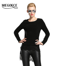 New collection MIEGOFCE Spring Autumn Women Sweater Round Collar and Long Sleeve Knitted-Lace Women Top Spring Ladies Blouses(China)
